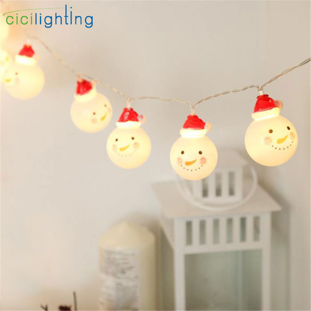 3m 20led Santa Claus Led String Light For Xmas, AA Battery Powered 1.5m 10 LED Christmas Snowman Garland Lamp For Holiday Decor