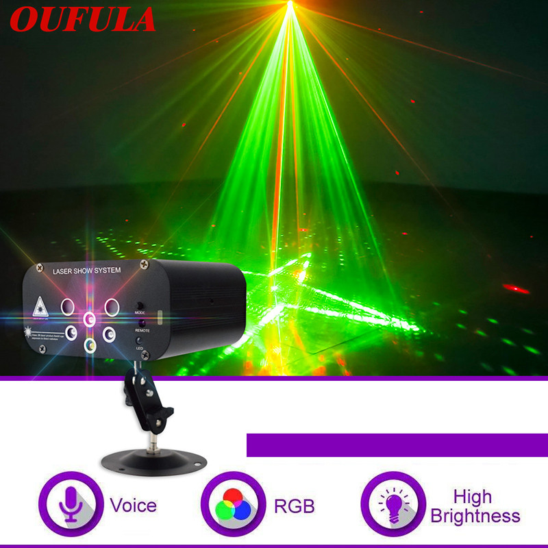 New 6 Holes 64 Patterns Laser Lamp Disco Stage Lights  Bar Flash Stage Lamp KTV Mini Christmas Projector
