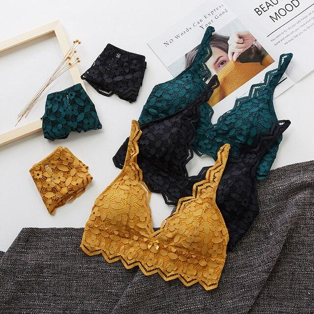 Женский комплект нижнего белья Wriufred, кружевной комплект из двух предметов с бюстгальтером Бралетт и трусиками с эффектом пуш ап, одежда для сна