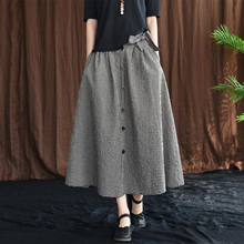 New Arrival Spring Arts Style Women High Waist Slim Cotton Linen Plaid Long Skirt All matched Casual Loose A line Skirt S595