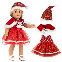 Doll Clothes For Born Baby Doll Christmas Santa Claus Dress 18 inch Girl Doll Christmas Dress Kids G