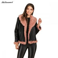 Fur Patchwork Pu Leather Jacket Women Thermal Lapel Fashion Outwear Artificial Casual Zipper Coat
