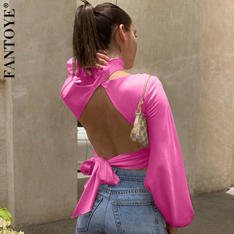 FANTOYE Satin Backless Sexy Crop   Top   Women Hot Halter V Neck Bodycon Bandage   Tank     Tops   Ladies Bow Cropped Party   Tops   Clubwear