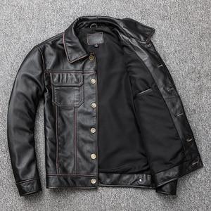 Image 2 - Spedizione gratuita. regalo giovane classic casual genuino cappotto di pelle. vintage degli uomini di giacca di pelle bovina. us più il cuoio di formato outwear. vendite