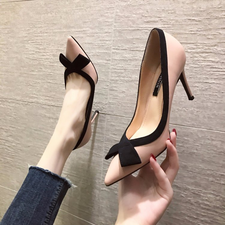 Fashion Small Fresh High Heels Stiletto Pointed Sexy Black Single Shoes Elegant Banquet Womens Shoes Sweet Butterfly-Knot Pumps