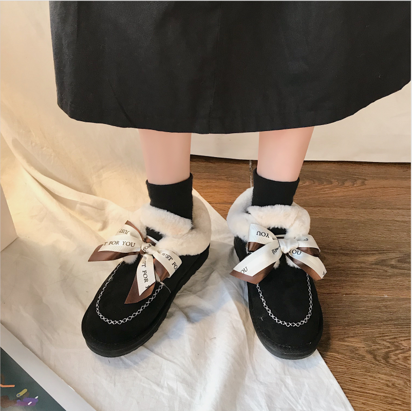New Autumn Flat Keep Warm Ankle Boots Women Lace Up Short Plush Snow Boots Shoes Woman Winter Cotton Shoes Women Chaussure 2019 55