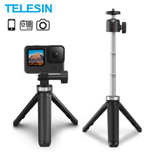 TELESIN Mini Tripod Selfie Stick For GoPro Hero 9 Portable Aluminium Alloy Adjustable Length For Action Camera iPhone Android