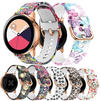 20mm Silicone band for Samsung Galaxy 42mm Active Watch Gear sport Band Flower Printing For Samsung Replacement Bracelet Strap 20mm watch strap for samsung galaxy watch active sports silicone replacement band for samsung galaxy watch 42mm bracelet belt