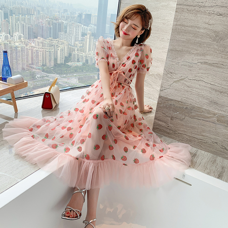 Runway Rhinestone Diamonds Strawberry Pink Mesh Maxi Dress Women Short Puff Sleeve Sexy V-neck Lace-up Bow Tunic Lolita Dress (16)
