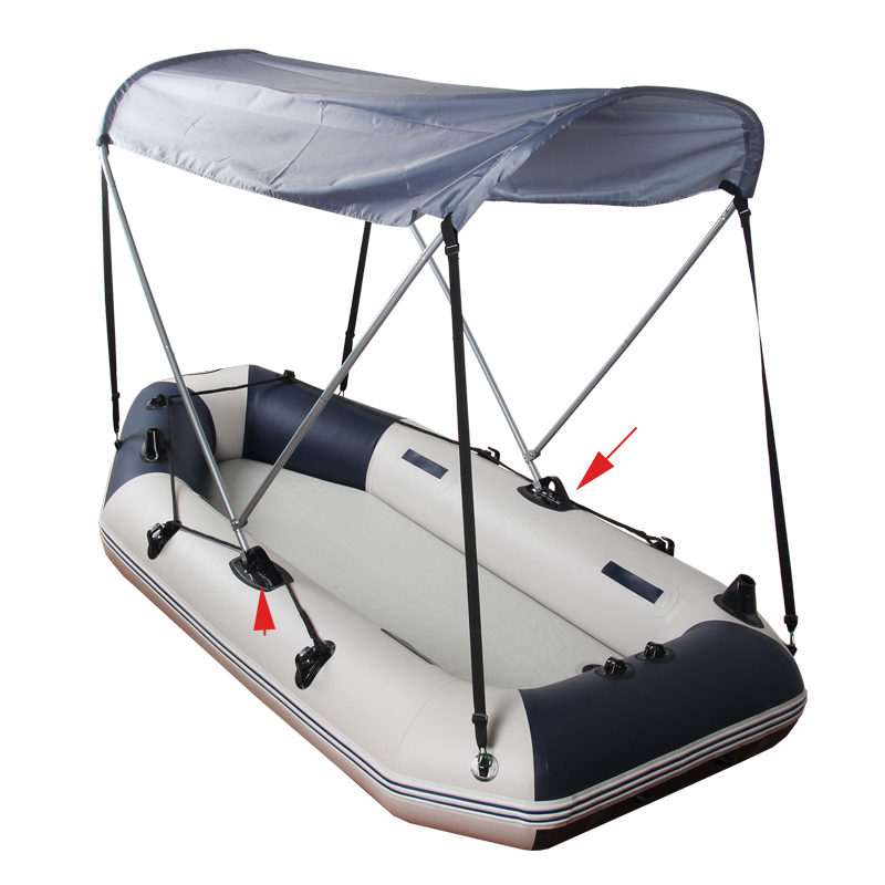 Awning// Bimini Top// Sun Shelter PVC Deck Mount for Inflatable Boat
