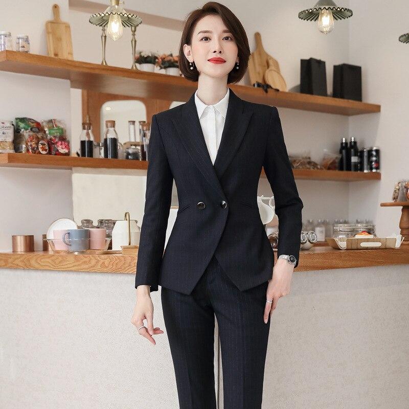 Temperament long sleeve striped women's suit 2019 casual slim autumn ladies blazer Business women's pants suit Two-piece set