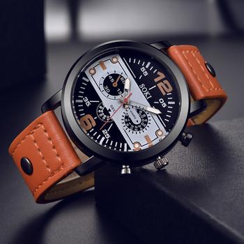 Para modny skórzany pasek analogowy zegarek kwarcowy okrągły biznes męski zegarek męskie zegarki meskie zegarek meski hombre tanie i dobre opinie Sanwony NONE STOP CN (pochodzenie) 21cm bez wodoodporności Moda casual Cyfrowy Sprzączka ROUND 22mm 12mm relogios masculino