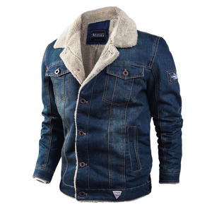 Image 2 - Men Jacket and Coat Trendy Warm Fleece Thick Denim Jacket 2020 Winter Fashion Mens Jean Jacket Outwear Male Cowboy Plus Size 4XL