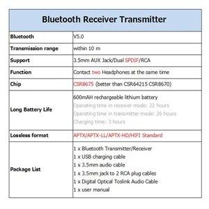Image 3 - KEBIDU CSR8675 Bluetooth RCA Receiver 5.0 AptX LL 3.5mm Jack Aux Wireless Transmitter for TV Car RCA 3.5 Audio Receiver