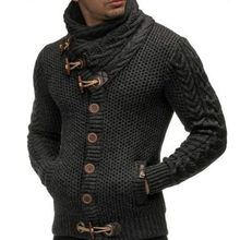 Mens British Turtleneck Male Cattle Horn Buckle Coarse Wool Twisted HighCollar Long Sleeve Thickened India Cardigan Sweater J956(China)