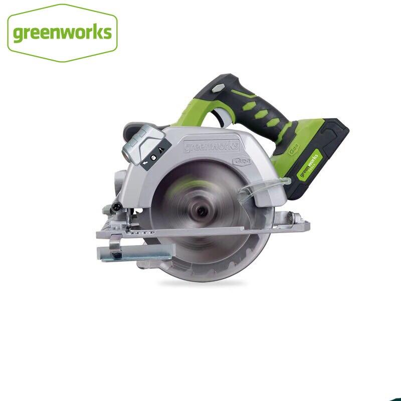 Greenworks 6-1/2 polegadas 24 v bateria circular serra compacta com 165mm 18 t tct lâmina circular viu ferramentas de madeira