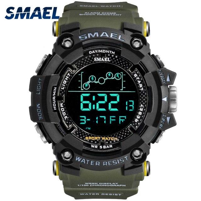 SMAEL – Montre de sport résistante à leau style militaire pour homme, accessoire numérique à LED, doté dune chronomètre, 1802