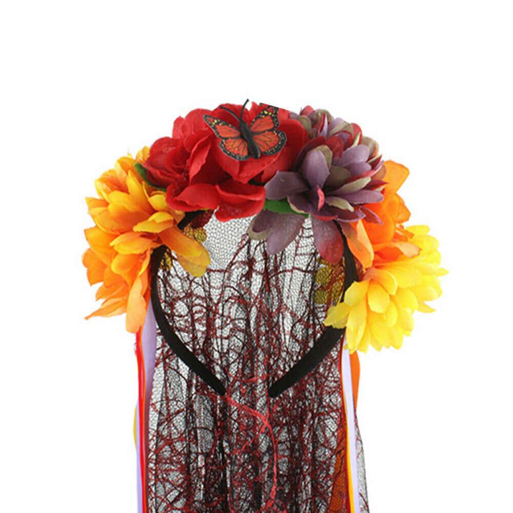 Faroot Hari Orang Mati Kerudung Mayat Pengantin Mawar Meksiko Halloween Fancy Dress Aksesori Halloween Wanita Hiasan Kepala