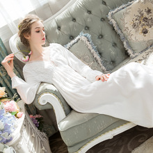 Long-sleeved Nightdress Female Cotton Spring and Summer V-neck Long Skirt Lace Sweet Princess Loose Large Size Homewear