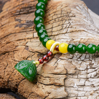 Natural A green jade bracelet bangle two bracelets for women amber jade jewelry 6mm necklace