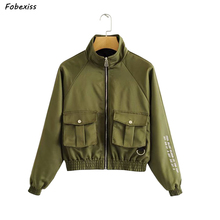 Women Short Jacket Coat Fall 2019 Long Sleeve Zippers Up With Pocket Button Streetwear Outerwear Gothic Army Green Bomber Jacket