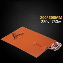 1* Нагревательный коврик для 3d принтера, автомобильный двигатель, 220 В, 750 Вт, 200 мм* 300 мм, силиконовая резина, с подложкой, термоклеевая накладка, быстро нагревается