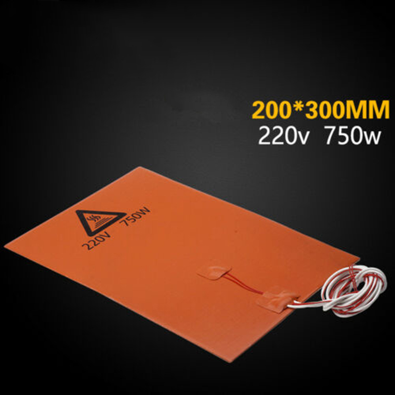1*orange Heater Pad 220V 750W 200mm*300mm Silicone Rubber With Backing Glue Heater Pad Durable