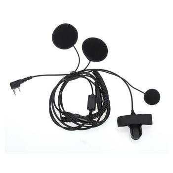 цена на 2 Pin PTT Motorcycle Helmet Headset Intercom Earphone Headphones with Microphone for Kenwood BAOFENG Two Way Radio Walkie Talkie
