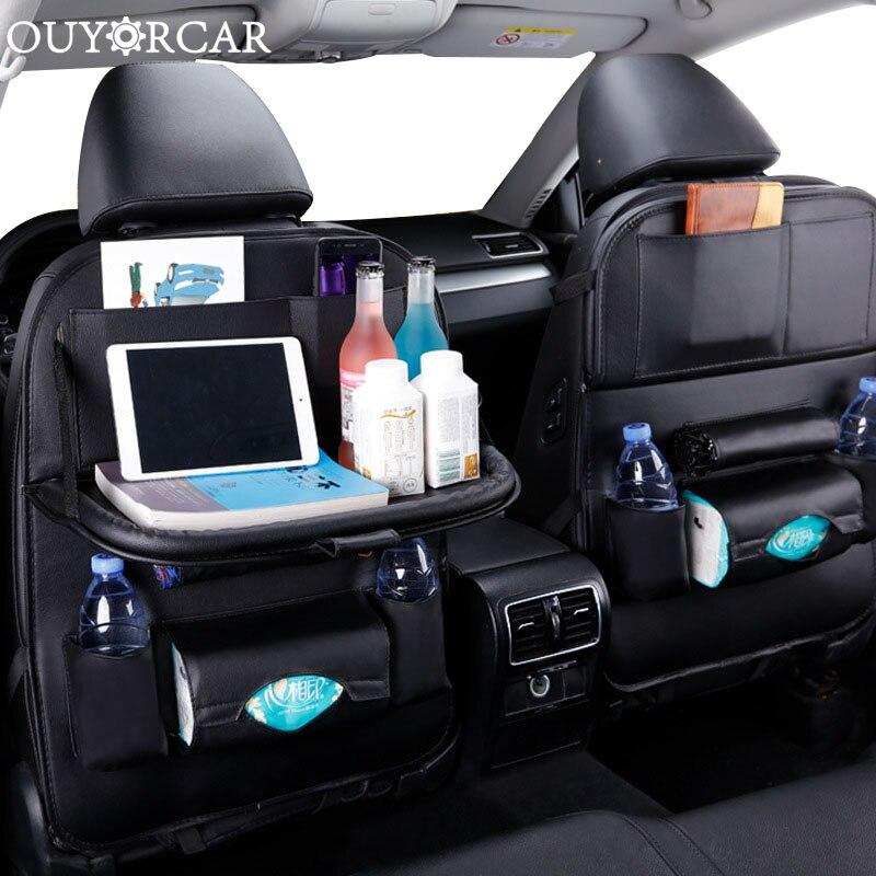 Auto Sitz Zurück Veranstalter Pu Leder Pad Tasche Auto Lagerung Organizer Faltbare Tisch Tablett Reise Lagerung Tasche Auto Zubehör