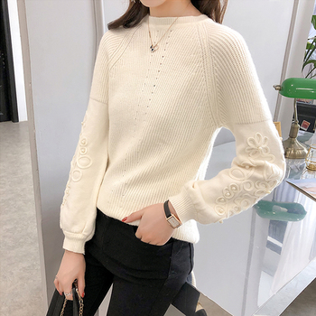 Ailegogo Womens Sweaters 2019 Autumn Winter Beaded Tops O Neck Women Soft Warm Pullover Jumper Knitted Sweater Knitwear 6