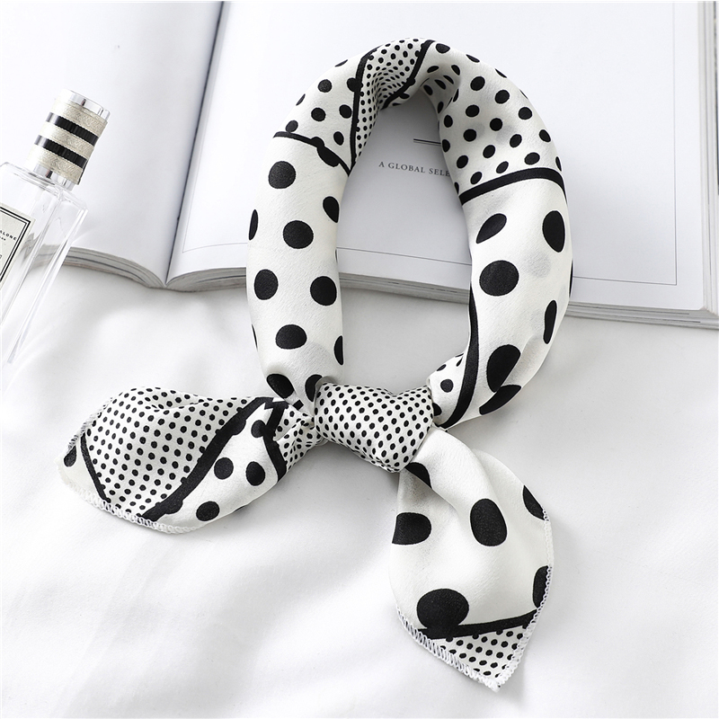 Small Square Neck Scarves Women Silk Square Girl Hair Scarf Accessories Headband Kerchief Dot Print Shawls 50*50cm