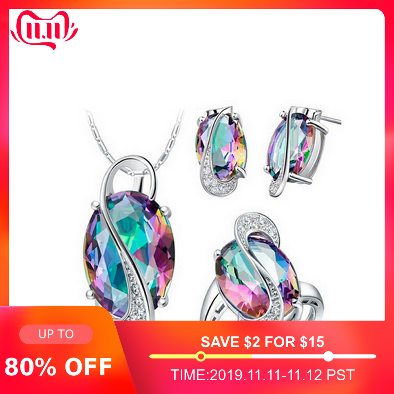 Fashion multi-color blue 925 Sterling Silver Jewelry set for women Wedding African trendy party christmas gifts Jewelry J651