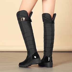 Image 5 - FEDONAS Fashion Women Winter Snow Boots Warm Fur Wedges High Heels Boots Sexy Tight High Long Shoes Woman Platforms High Boots