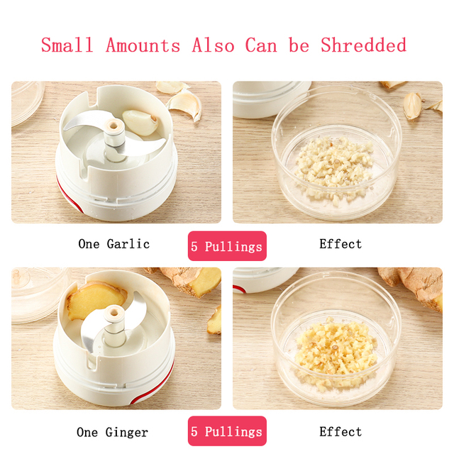 Mini Food Garlic Vegetable Grinder Chopper Mincer Crusher Press for Meat Nuts Pepper Onion Multi-function Manual Food Processor Appliances Consumer Electronics