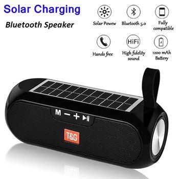 Altavoz de música estéreo inalámbrico con carga Solar, Bluetooth, cargador de batería...