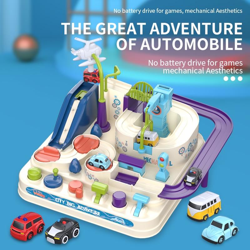 Racing Rail Car Model Racing Educational Toys Children Track Car Adventure Game Brain Game Mechanical Interactive Train Toy