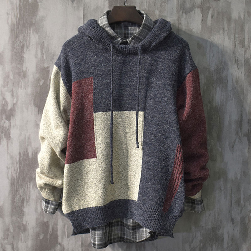 Hooded Knitted Sweater Men Casual Slim Fit Mens Pullover Jumper Sweaters Coat Autumn Streetwear Patchwork Tracksuit Pull Homme