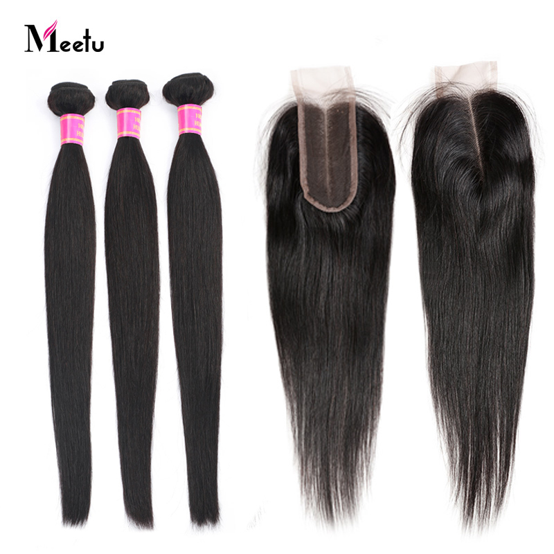 Indian Straight Human Hair Weave With Closure 3PCS Hair Bundles With Closure With Baby Hair Meetu Non Remy Hair And Lace Closure