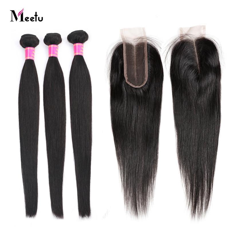 Meetu 2x6 Straight Hair Bundles With Closure 3x6inch Human Hair Bundles With Closure 4x5 Straight Weave 3 Bundles With Closure