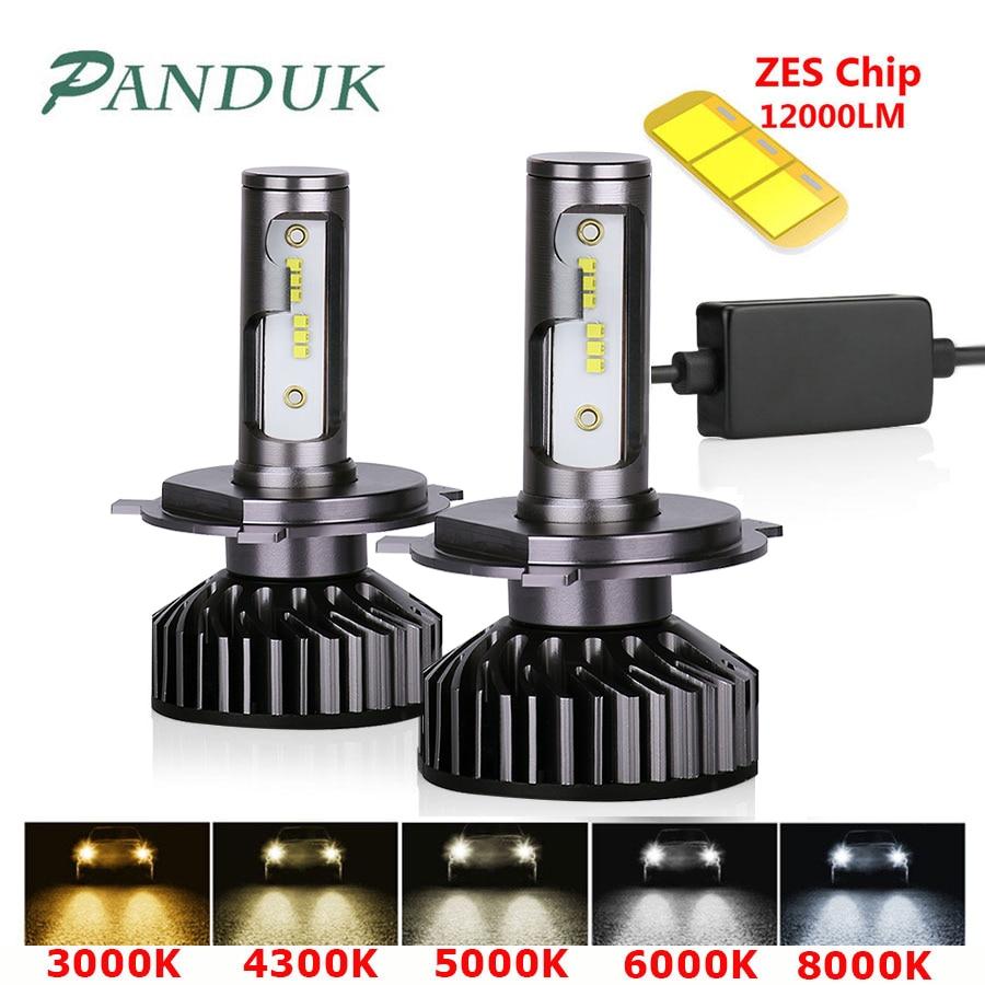 PANDUK H7 светодиодный H4 H11 H8 H1 HB3 9005 9006 светодиодный HB3 Canbus головной светильник автомобильный светильник ZES 12000LM 72W 80W 4300K 6000K 8000K 12V лампа