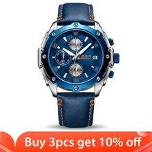 MEGIR הכרונוגרף גברים שעון Relogio Masculino כחול עור עסקי קוורץ שעון שעון גברים Creative צבא צבאי יד שעונים
