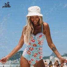 Летний Стильный слитный купальник для женщин с принтом пальмы, купальный костюм с принтом листьев, монокини, купальный костюм, пляжная одежда для женщин