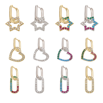 ZHUKOU 2020 NEW 1 piece CZ crystal small hoop earrings gold/silver color heart Rounded Rectangle women earrings wholesale VE230 1