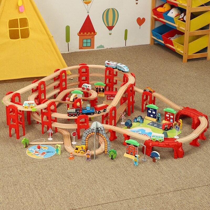 trem ferroviario de madeira grande trilha de madeira brinquedos locomotiva eletrica 3d anel estereo faixa multicamadas