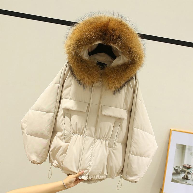 Ailegogo Winter Women 90% White Duck Down Coat Large Real Raccoon Fur Hooded Jacket New Irregular Loose Warm Snow Short Outwear