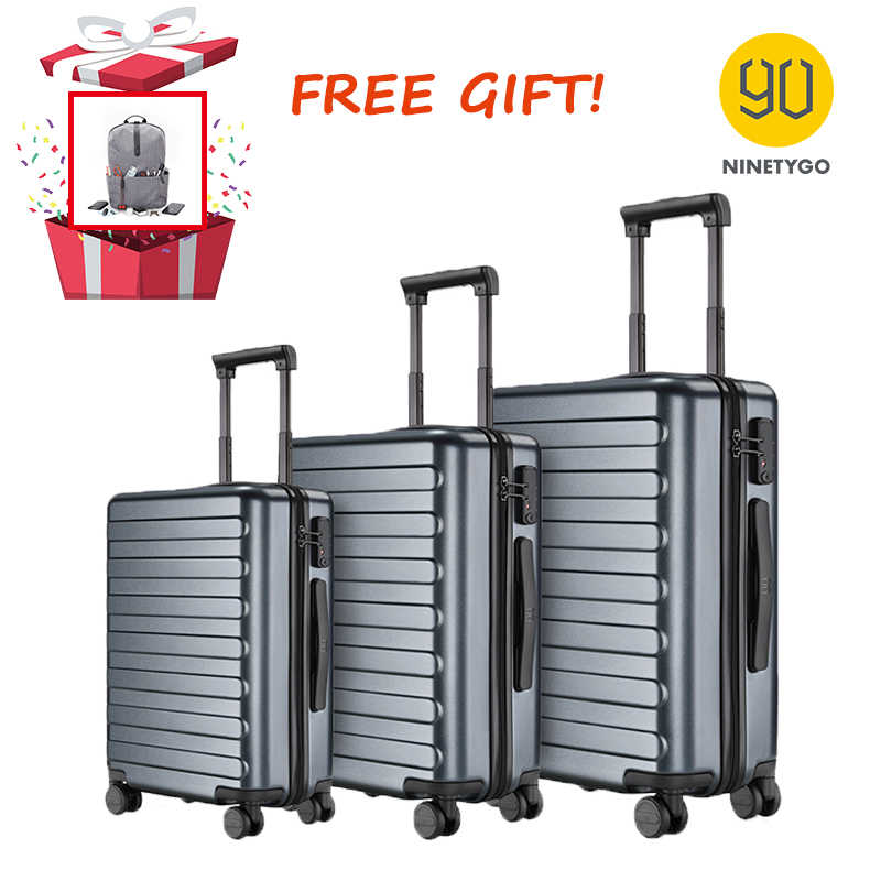 Ninetygo 90FUN 20 24 28 Inch Set Titanium Grey Koffer Carry Op Spinner Wielen Rolling Bagage Tsa Lock Business Travel
