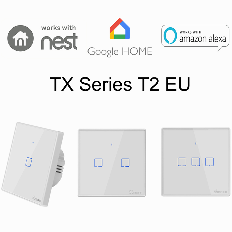 Sonoff T2 1 2 3 Gang Smart WiFi Wall Light Switch Timer RF APP Touch Control EU Panel Home Automation Google Nest Alexa