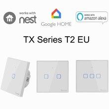 Sonoff T2 1 2 3 Gang inteligentne wifi ściana światło wyłącznik czasowy RF/APP/Panel dotykowy ue automatyki domowej Google Nest/Alexa