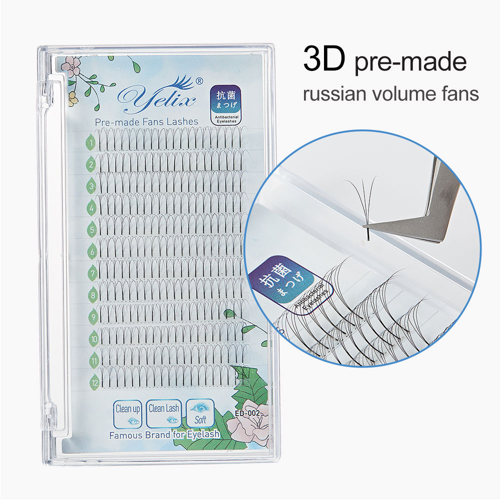 Yelix 3D Premade Volume Fans Russian Volume Eyelash Extensions Individual  Eyelashes Cluster Lashes Long Stem Faux Cils Natural