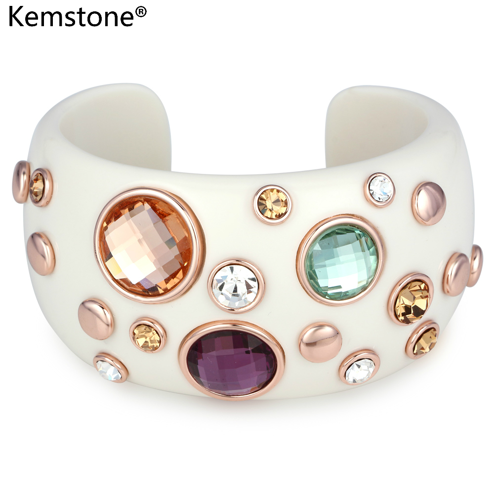 Kemstone Gold Color Cute Round Crystal Simulated Rhinestone Cuff Bangle Bracelet Jewelry Gifts For Women New 2018